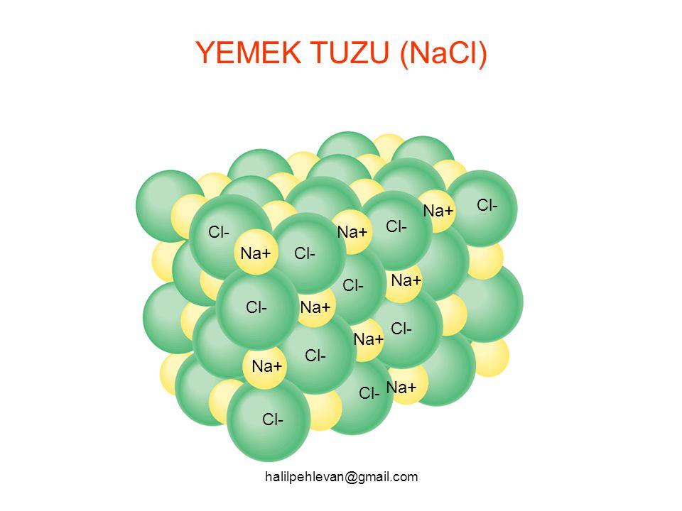 YEMEK TUZU (NaCl) Cl- Na+ Cl- Cl- Na+ Na+ Cl- Na+ Cl- Cl- Na+ Cl- Na+