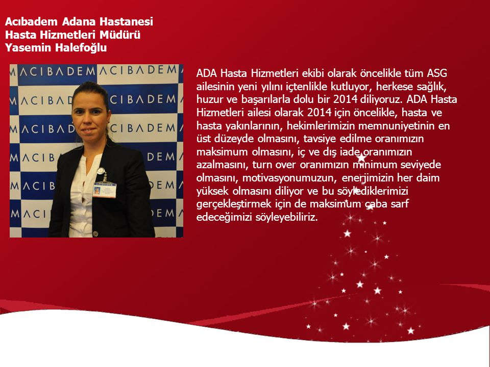 Acıbadem Adana Hastanesi Hasta Hizmetleri Müdürü Yasemin Halefoğlu