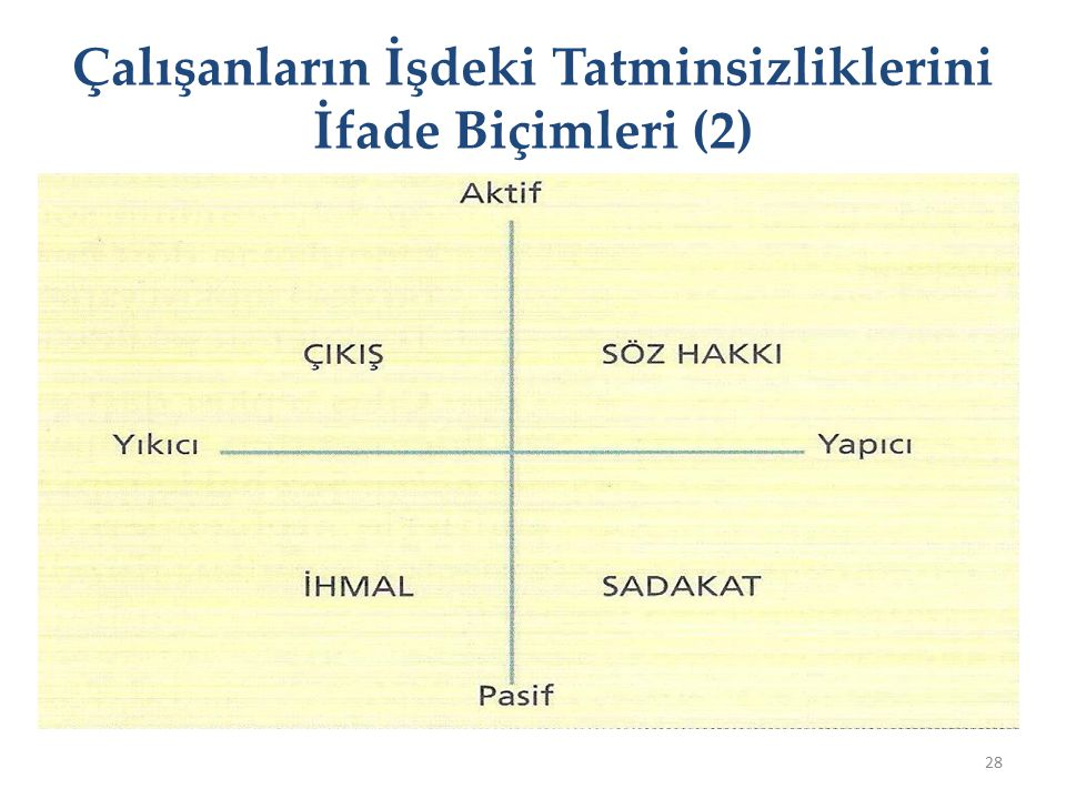 Çalışanların İşdeki Tatminsizliklerini İfade Biçimleri (2)