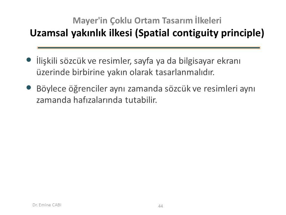 Mayer in Çoklu Ortam Tasarım İlkeleri Uzamsal yakınlık ilkesi (Spatial contiguity principle)