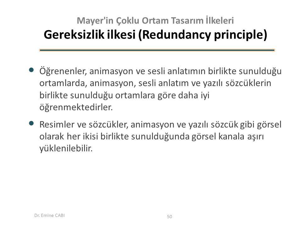 Mayer in Çoklu Ortam Tasarım İlkeleri Gereksizlik ilkesi (Redundancy principle)