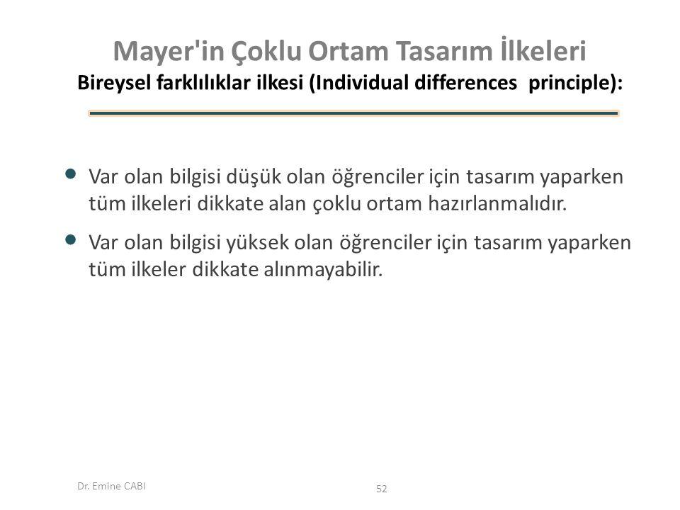 Mayer in Çoklu Ortam Tasarım İlkeleri Bireysel farklılıklar ilkesi (Individual differences principle):