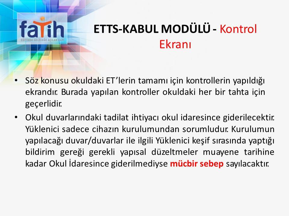 ETTS-KABUL MODÜLÜ - Kontrol Ekranı