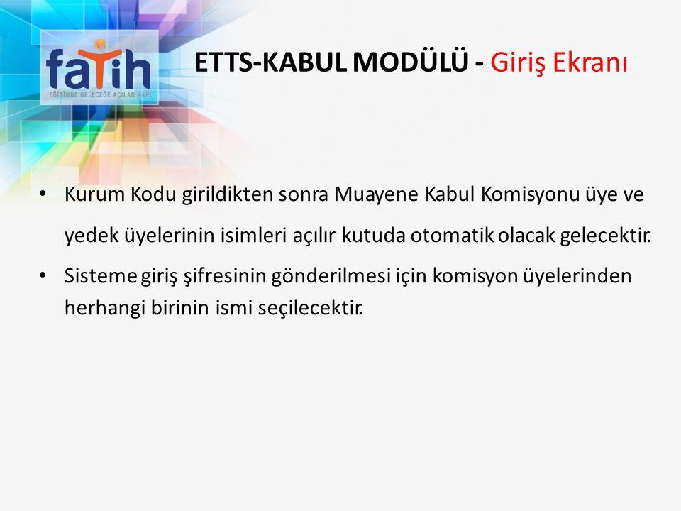 ETTS-KABUL MODÜLÜ - Giriş Ekranı