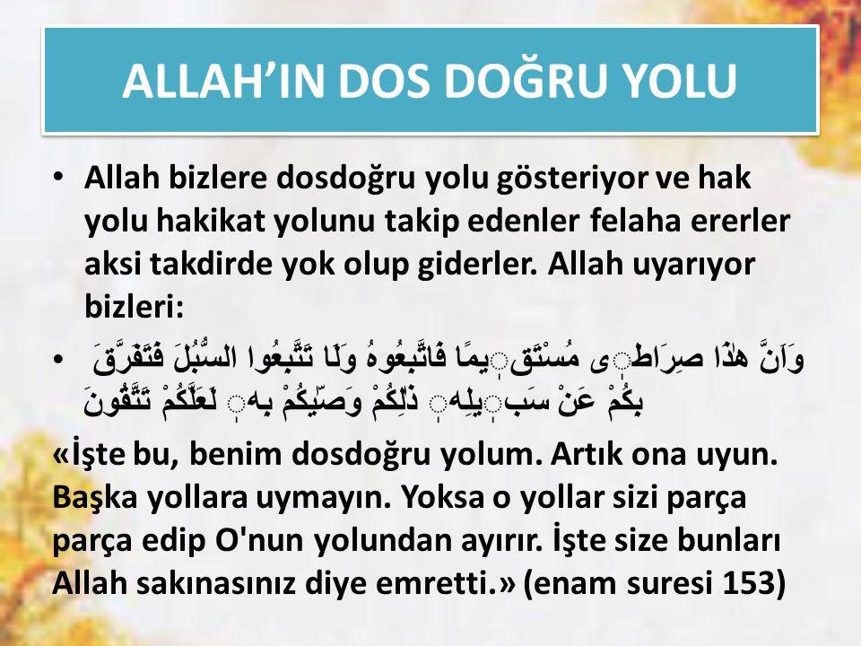 ALLAH'IN DOS DOĞRU YOLU