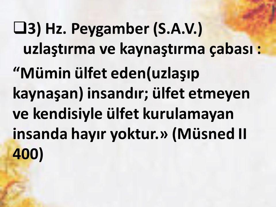 3) Hz. Peygamber (S.A.V.) uzlaştırma ve kaynaştırma çabası :