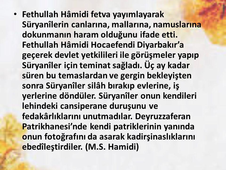 Fethullah Hâmidi fetva yayımlayarak Süryanîlerin canlarına, mallarına, namuslarına dokunmanın haram olduğunu ifade etti.