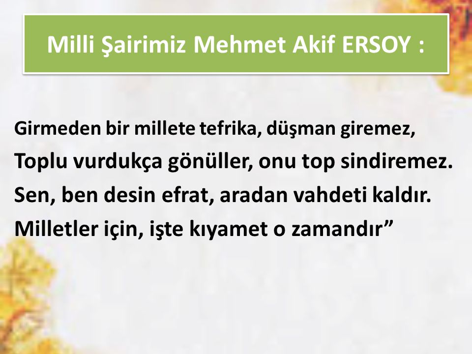 Milli Şairimiz Mehmet Akif ERSOY :