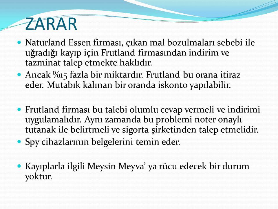 ZARAR Naturland Essen firması, çıkan mal bozulmaları sebebi ile uğradığı kayıp için Frutland firmasından indirim ve tazminat talep etmekte haklıdır.