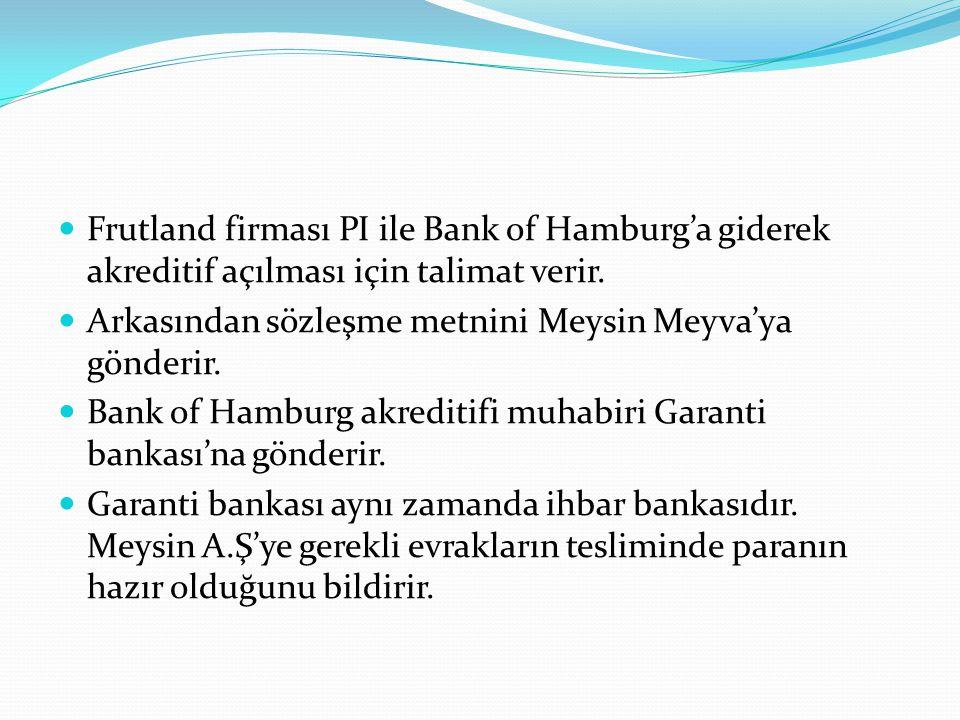 Frutland firması PI ile Bank of Hamburg'a giderek akreditif açılması için talimat verir.