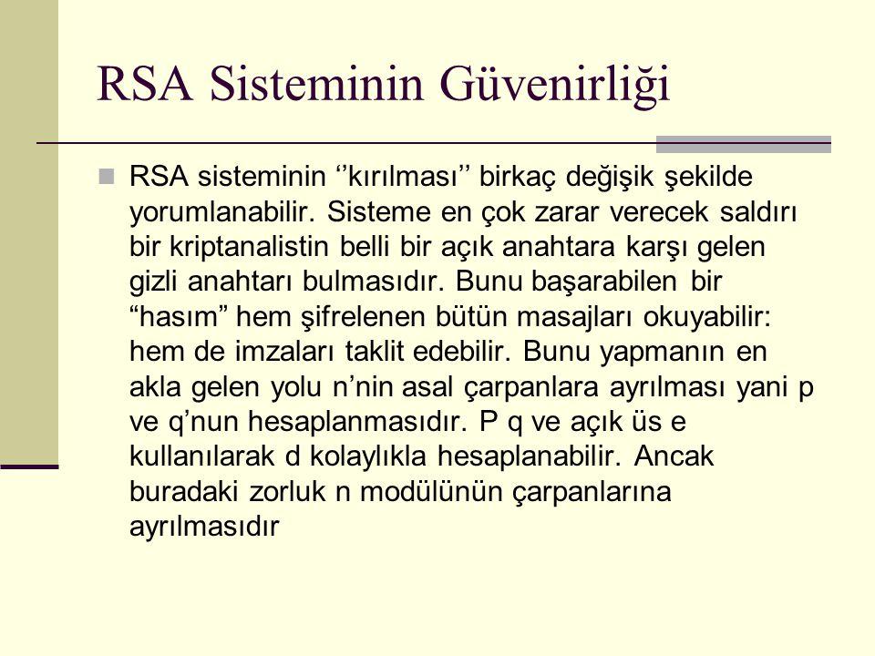RSA Sisteminin Güvenirliği