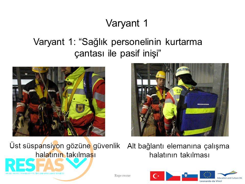 Varyant 1 Varyant 1: Sağlık personelinin kurtarma çantası ile pasif inişi Üst süspansiyon gözüne güvenlik.