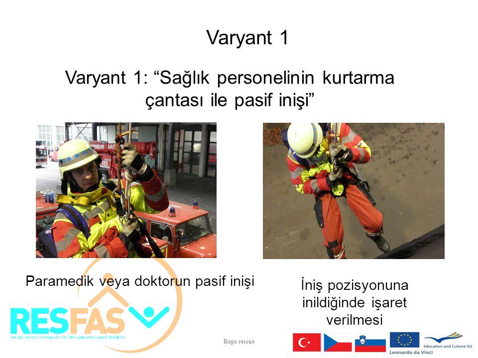 Varyant 1 Varyant 1: Sağlık personelinin kurtarma çantası ile pasif inişi Paramedik veya doktorun pasif inişi.