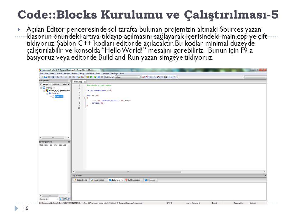Code::Blocks Kurulumu ve Çalıştırılması-5
