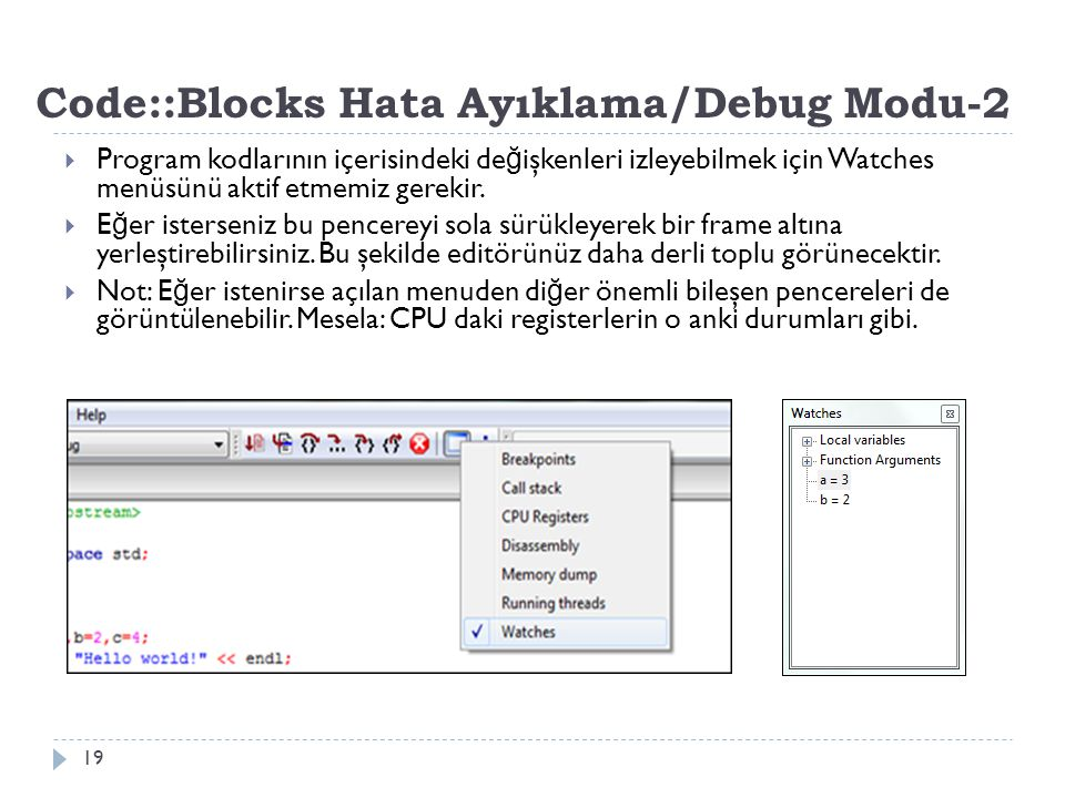 Code::Blocks Hata Ayıklama/Debug Modu-2