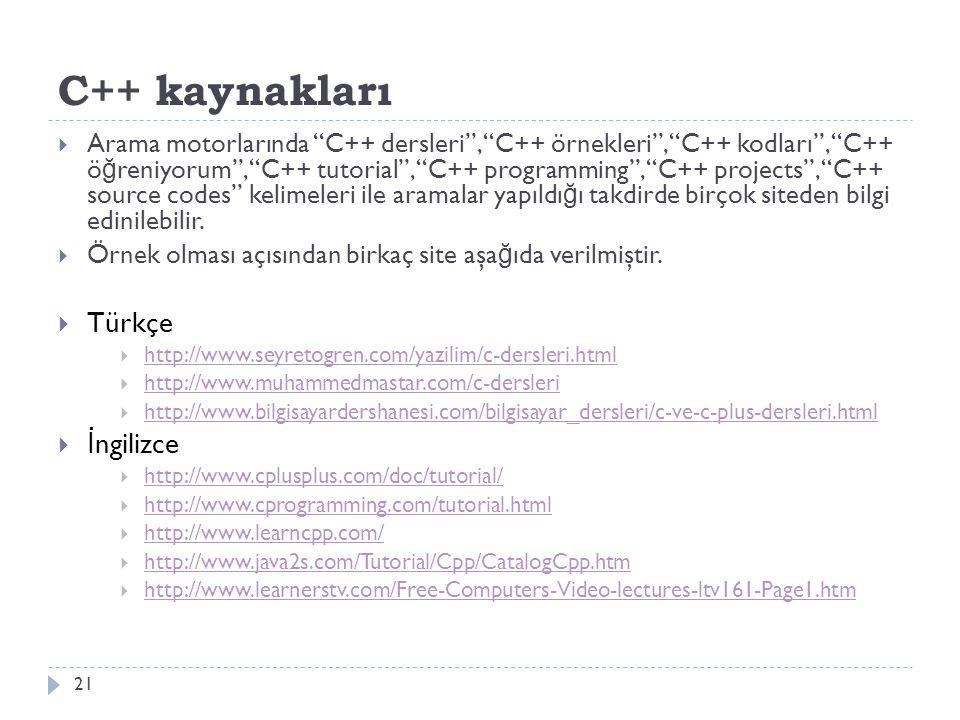 C++ kaynakları Türkçe İngilizce