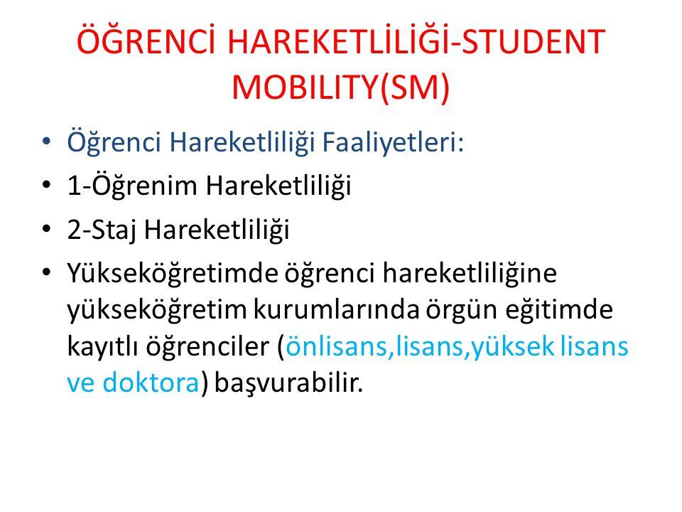 ÖĞRENCİ HAREKETLİLİĞİ-STUDENT MOBILITY(SM)