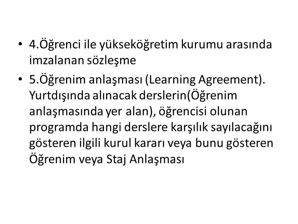 4.Öğrenci ile yükseköğretim kurumu arasında imzalanan sözleşme