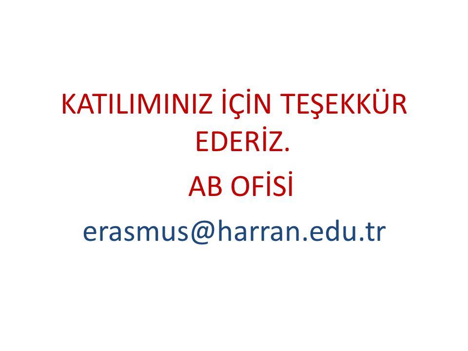 KATILIMINIZ İÇİN TEŞEKKÜR EDERİZ. AB OFİSİ erasmus@harran.edu.tr