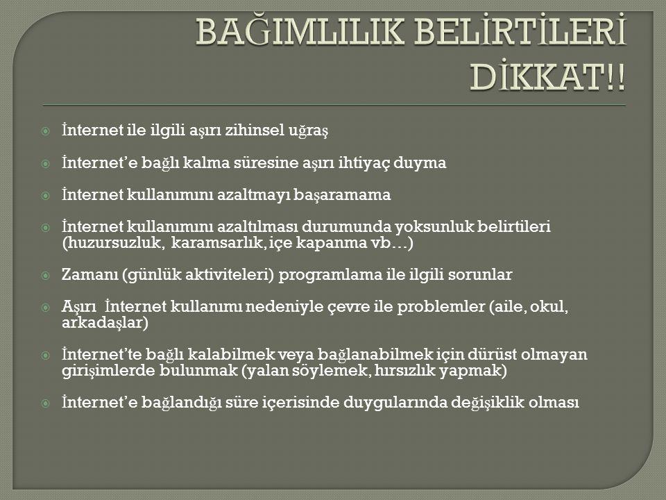 BAĞIMLILIK BELİRTİLERİ DİKKAT!!