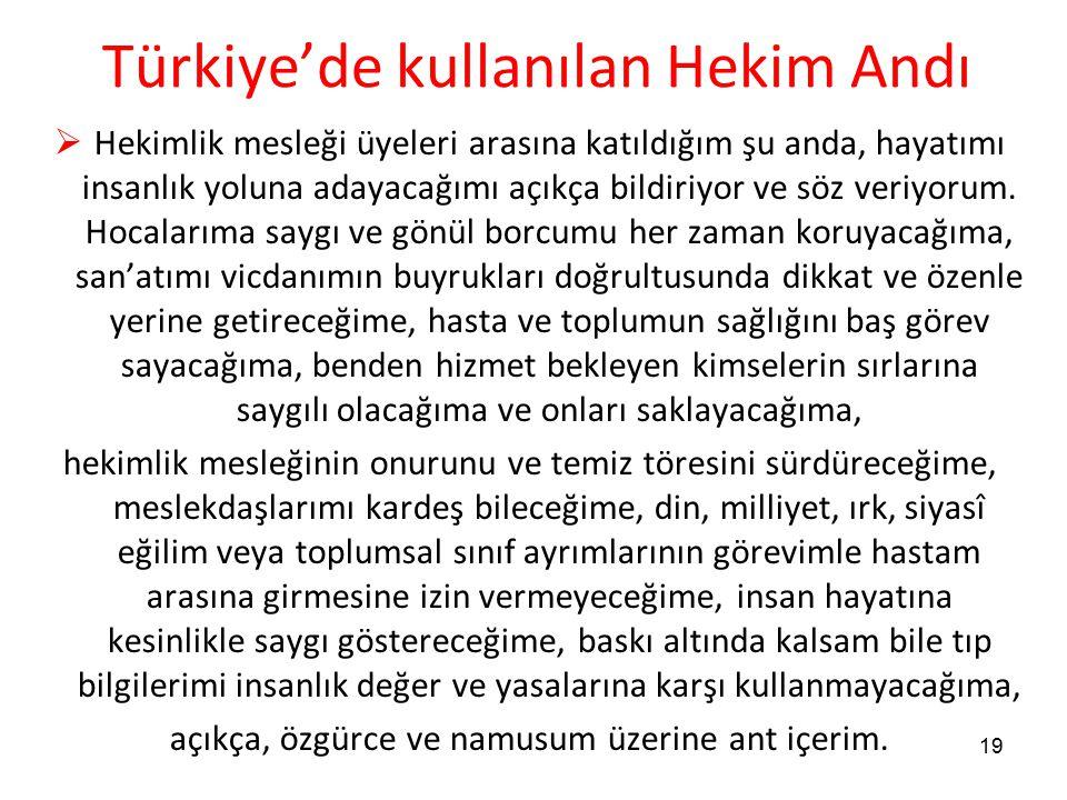 Türkiye'de kullanılan Hekim Andı