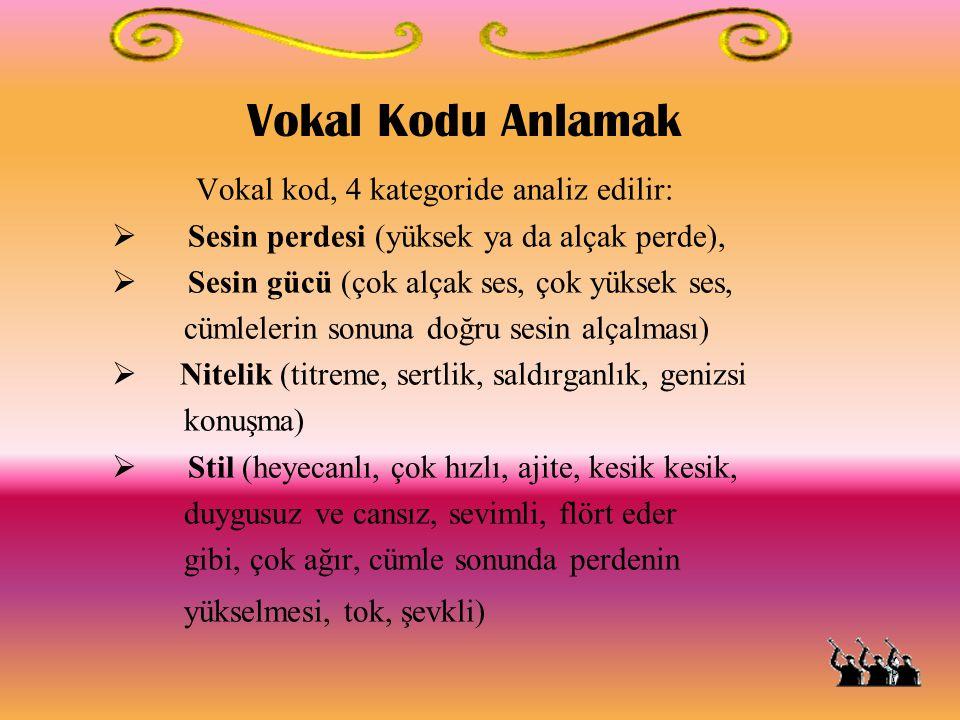 Vokal Kodu Anlamak Vokal kod, 4 kategoride analiz edilir: