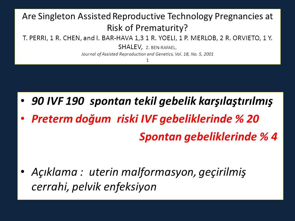 90 IVF 190 spontan tekil gebelik karşılaştırılmış