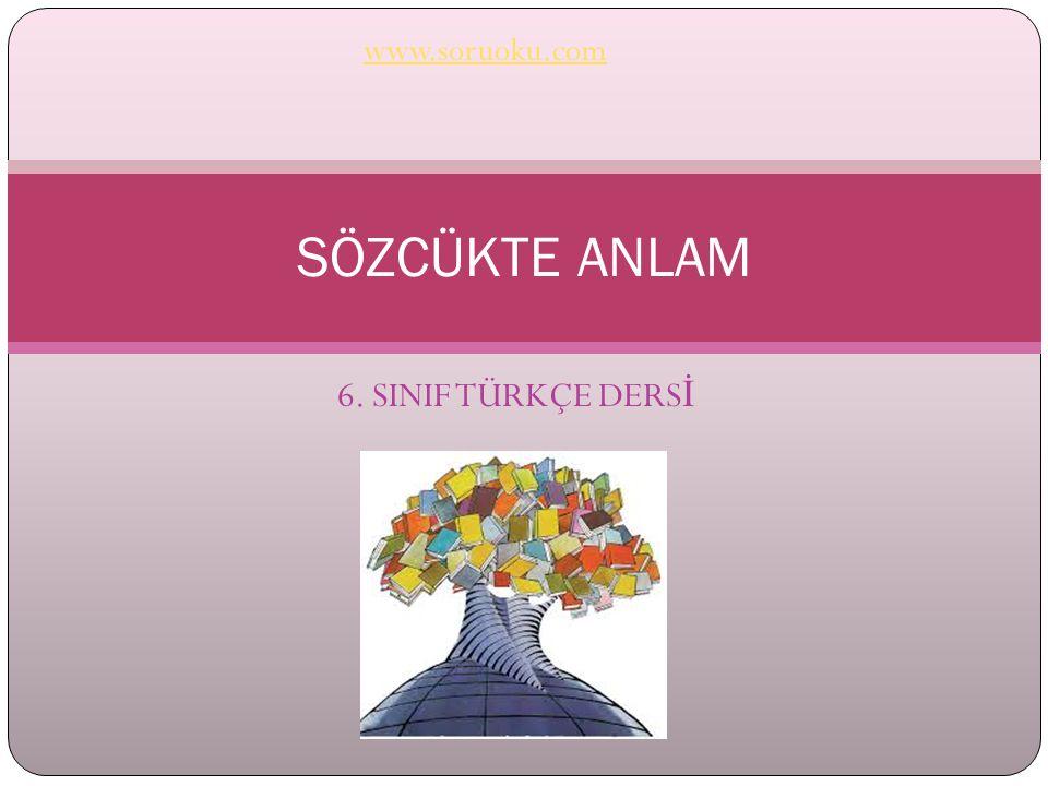 www.soruoku.com SÖZCÜKTE ANLAM 6. SINIF TÜRKÇE DERSİ