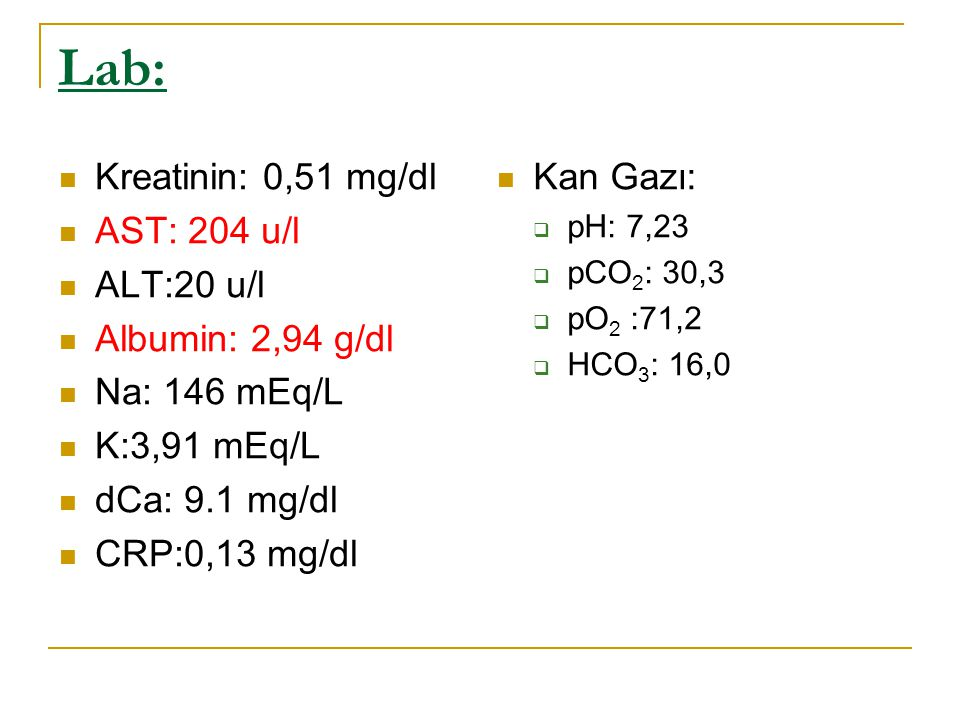 Lab: Kreatinin: 0,51 mg/dl AST: 204 u/l ALT:20 u/l Albumin: 2,94 g/dl