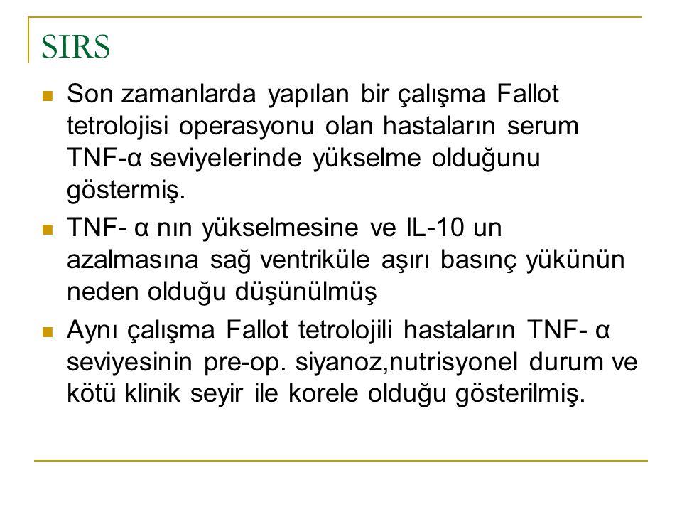 SIRS Son zamanlarda yapılan bir çalışma Fallot tetrolojisi operasyonu olan hastaların serum TNF-α seviyelerinde yükselme olduğunu göstermiş.