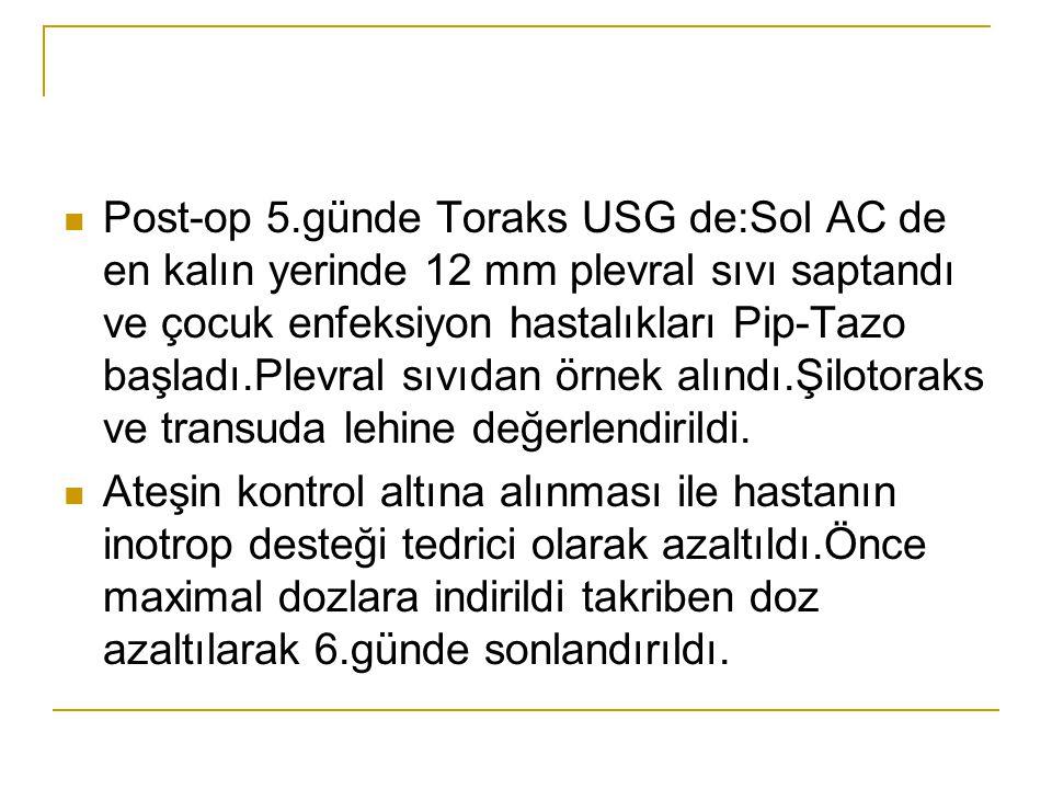 Post-op 5.günde Toraks USG de:Sol AC de en kalın yerinde 12 mm plevral sıvı saptandı ve çocuk enfeksiyon hastalıkları Pip-Tazo başladı.Plevral sıvıdan örnek alındı.Şilotoraks ve transuda lehine değerlendirildi.