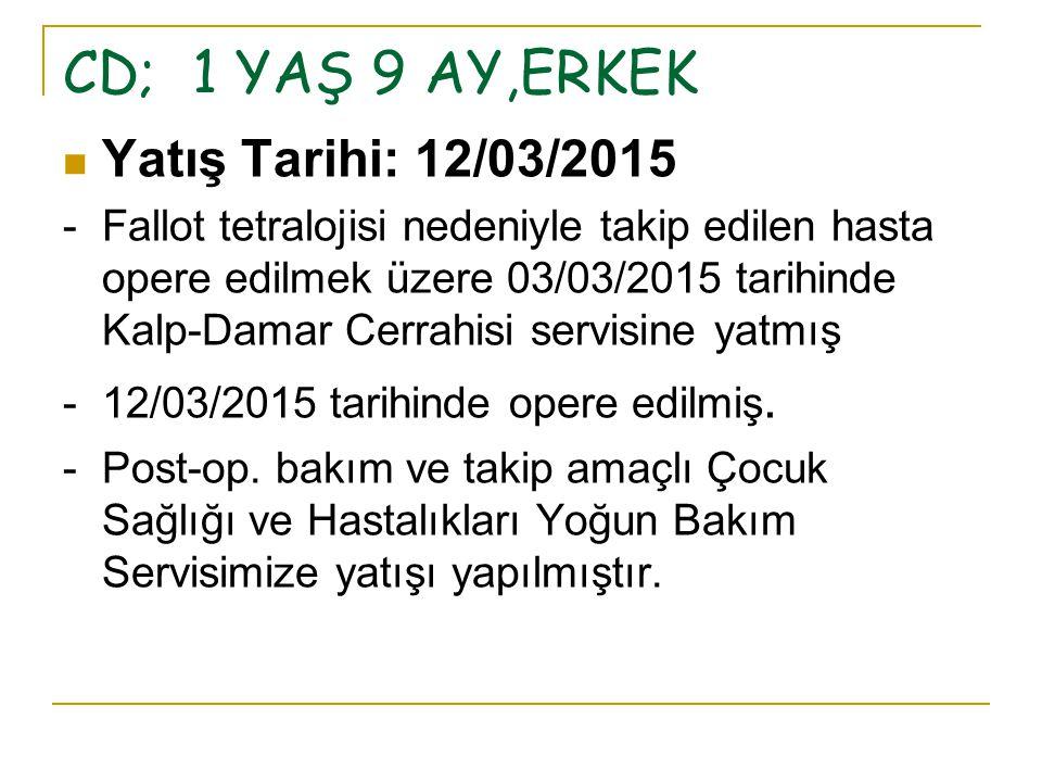 CD; 1 YAŞ 9 AY,ERKEK Yatış Tarihi: 12/03/2015