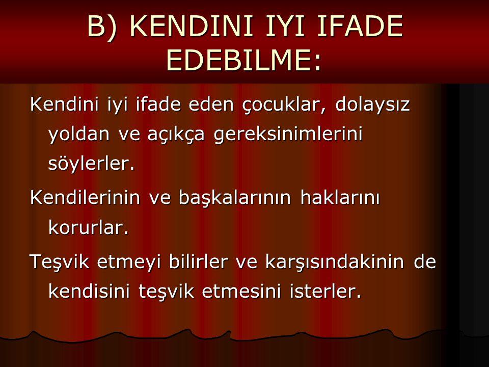 B) KENDINI IYI IFADE EDEBILME: