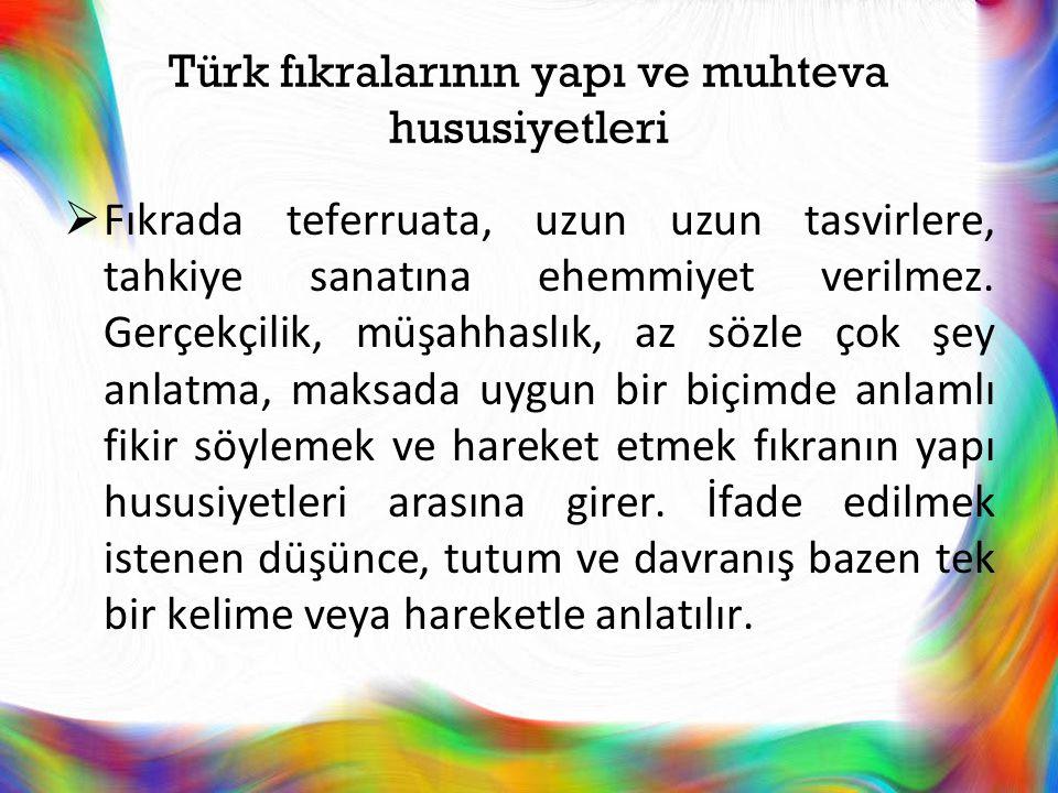 Türk fıkralarının yapı ve muhteva hususiyetleri