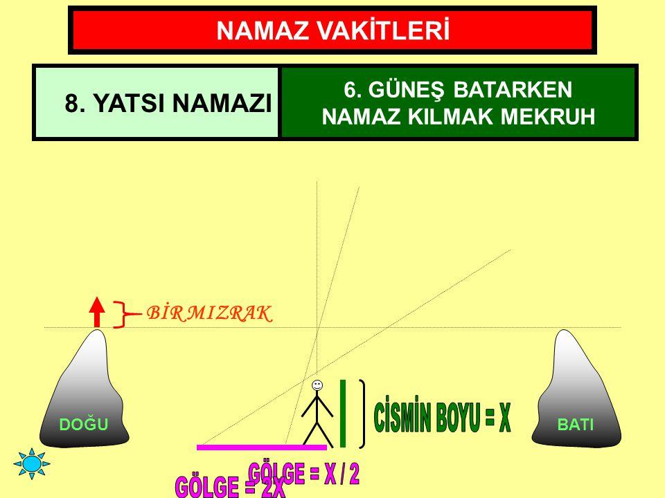 CİSMİN BOYU = X GÖLGE = X / 2 GÖLGE = 2X NAMAZ VAKİTLERİ