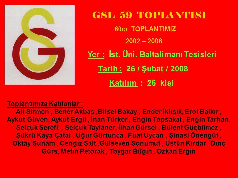 GSL 59 TOPLANTISI Tarih : 26 / Şubat / 2008 Katılım : 26 kişi