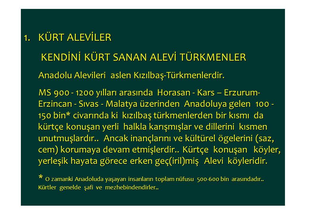 KENDİNİ KÜRT SANAN ALEVİ TÜRKMENLER