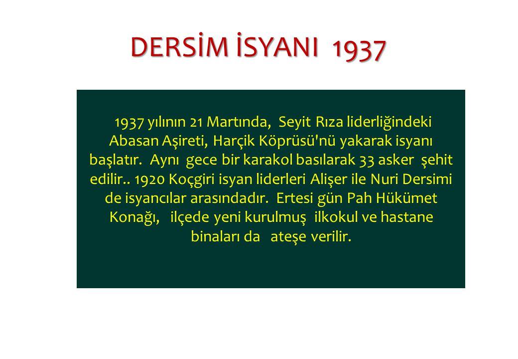 DERSİM İSYANI 1937