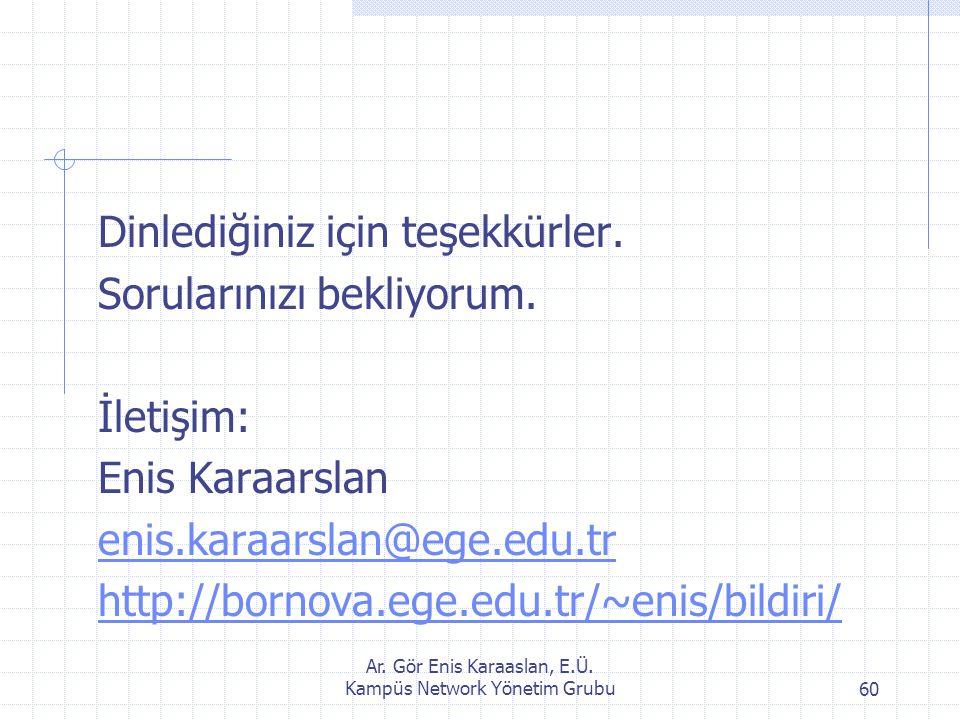Ar. Gör Enis Karaaslan, E.Ü. Kampüs Network Yönetim Grubu