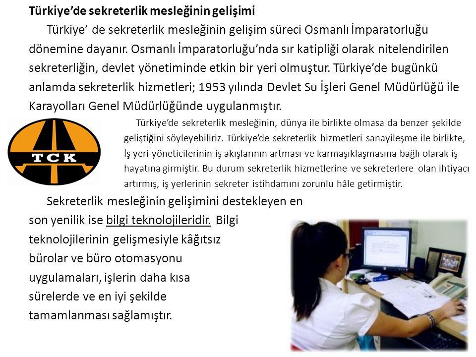 Türkiye'de sekreterlik mesleğinin gelişimi