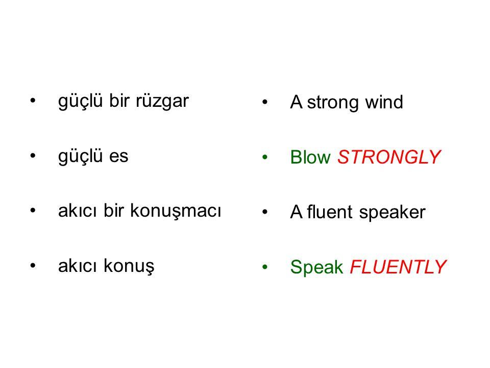 güçlü bir rüzgar güçlü es. akıcı bir konuşmacı. akıcı konuş. A strong wind. Blow STRONGLY. A fluent speaker.