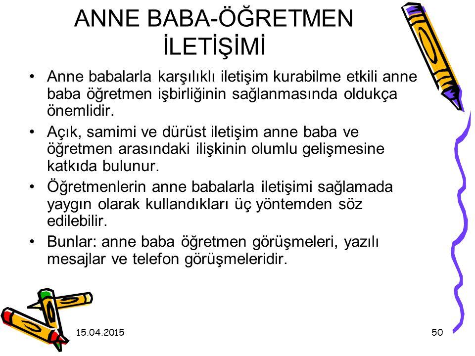 ANNE BABA-ÖĞRETMEN İLETİŞİMİ