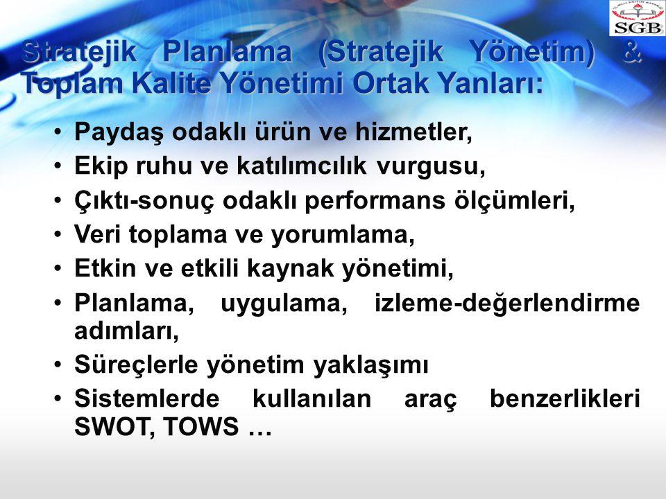Stratejik Planlama (Stratejik Yönetim) & Toplam Kalite Yönetimi Ortak Yanları: