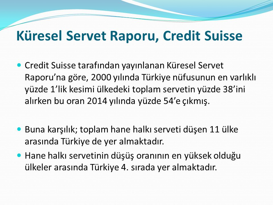 Küresel Servet Raporu, Credit Suisse