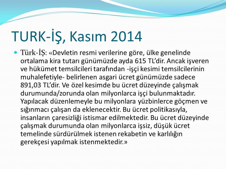 TURK-İŞ, Kasım 2014