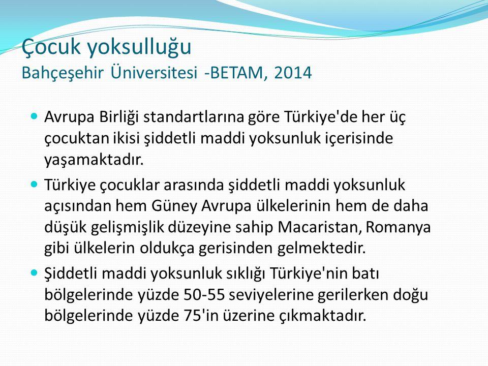 Çocuk yoksulluğu Bahçeşehir Üniversitesi -BETAM, 2014