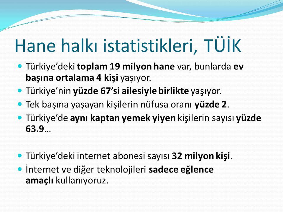 Hane halkı istatistikleri, TÜİK