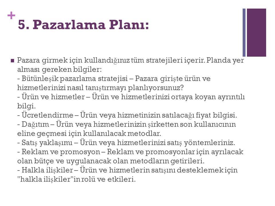 5. Pazarlama Planı: