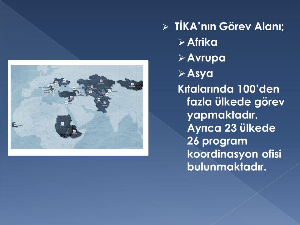 TİKA'nın Görev Alanı; Afrika. Avrupa. Asya.