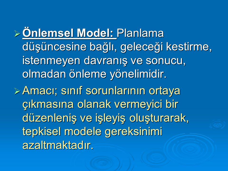 Önlemsel Model: Planlama düşüncesine bağlı, geleceği kestirme, istenmeyen davranış ve sonucu, olmadan önleme yönelimidir.
